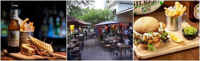 Food and terrace from bars in Sukhumvit soi 8 in Bangkok